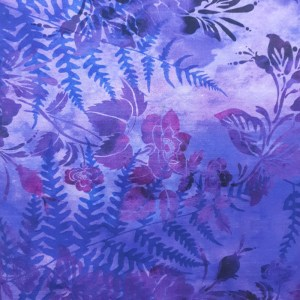 Quilting Patchwork Sewing Fabric GARDEN OF DREAMS PURPLE 50x55cm FQ New Jason Yenter