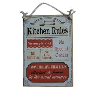 Country Printed Quality Wooden Sign KITCHEN RULES Plaque New