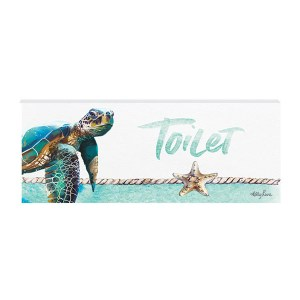 French Country Wall Art Plaque Sea Turtle TOILET Wooden Sign New