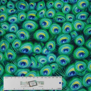 Quilting Patchwork Sewing Fabric PEACOCK ELEGANCE FEATHERS 50x55cm FQ New