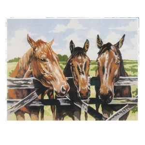 Grafitec Printed Tapestry Needlepoint HORSES 3 AMIGOES with DMC Numbers New