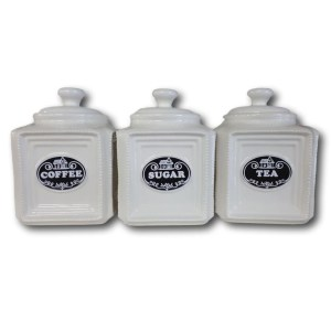 French Country Elegant Kitchen Canisters Tea Coffee Sugar BLACK LABELS with Seals New