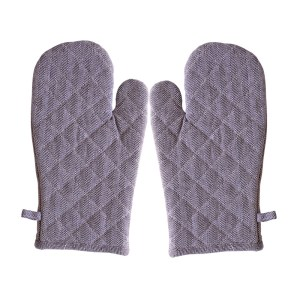 Kitchen Cooking Oven Gloves Set of 2 Herringbone BLACK Pot Mitts New