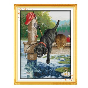 Cross Stitch Kit DOG FISHING X Stitch Joy Sunday Designs Incl Threads New