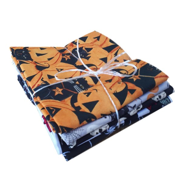 Quilting Patchwork Sewing Fat Quarter Pack of 5 HALLOWEEN Material New