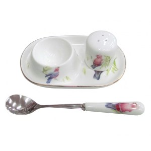 French Country Lovely Egg Cup with Spoon and Salt GALAH Gift Boxed New