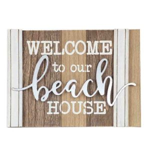 French Country Wall Art WELCOME BEACH HOUSE Wooden Sign New
