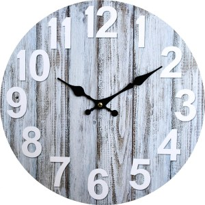 Clock French Country Vintage Wall Hanging 34cm GREY BOARDS New