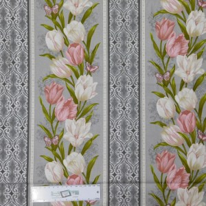 Quilting Patchwork Sewing Fabric TOTALLY TULIPS PINK BORDER 50x55cm FQ New Material