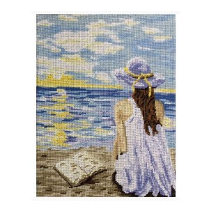 Gobelin Printed Tapestry Needlepoint GIRL AT THE BEACH 30x40cm New