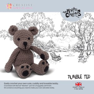 The Knitty Critters Crochet TUMBLE TED Teddy Bear Kit New Incl Hook