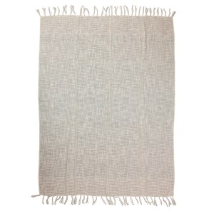 French Country Inspired Blanket Throw Hand Woven BEIGE with Tassles 125x150cm New