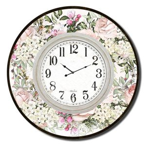 Clocks French Country Vintage Wall Hanging 60cm ENGLISH ROSE Large Floral Clock New