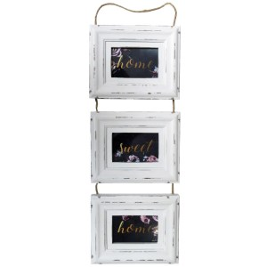 French Country Photo Frame Wooden MIDNIGHT FLORAL Triple Photo Frames New