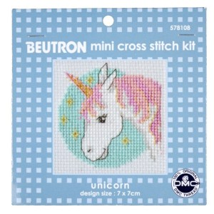 BEUTRON Cross Stitch Kit For Beginner UNICORN 7x7cm 578108 New