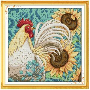 Cross Stitch Kit SUNFLOWER and ROOSTER X Stitch Joy Sunday Incl Threads
