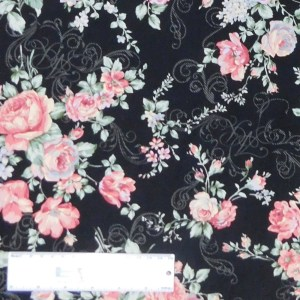 Quilting Patchwork Sewing Fabric FLORAL PROMISE BLACK LARGE ROSES 50x55cm FQ New