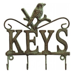 French Country Vintage Wall Art Keys Hooks Bird Hanger Wrought Iron New