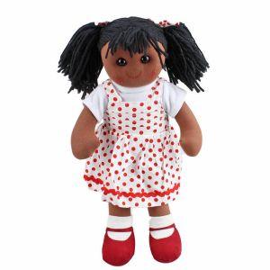 Lovely Soft Rag Doll JESSICA Red Spots Dress Girl Doll 35cm New