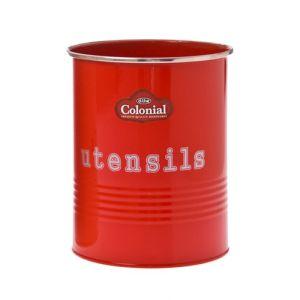 Enamel Kitchen Cooking Utensils RED Holder with Utensils Wording on Front