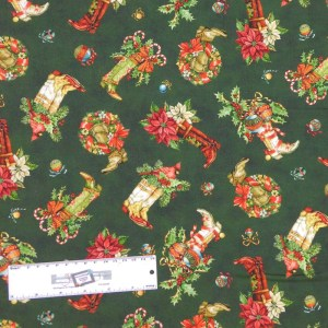 Quilting Patchwork Sewing Fabric XMAS COWBOY BOOTS 50x55cm FQ New Material