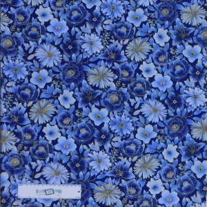 Quilting Patchwork Sewing Fabric MIDNIGHT GARDEN 50x55cm FQ New Material