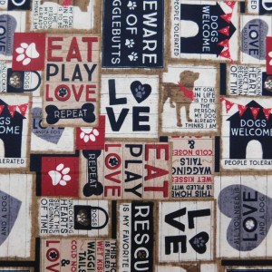 Quilting Patchwork Sewing Fabric WIGGLEBUTTS DOGS 50x55cm FQ New Material
