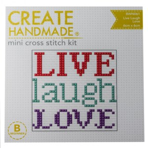 Create Handmade Cross Stitch Kit Beginner LIVE LAUGH LOVE New