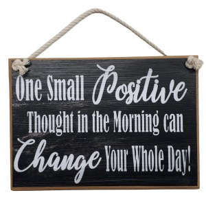 Country Printed Wooden Sign POSITIVE THOUGHTS Plaque New