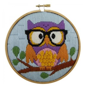 MAKE IT Long Stitch Kit Kids Beginner OWL 15cm Including Hoop New