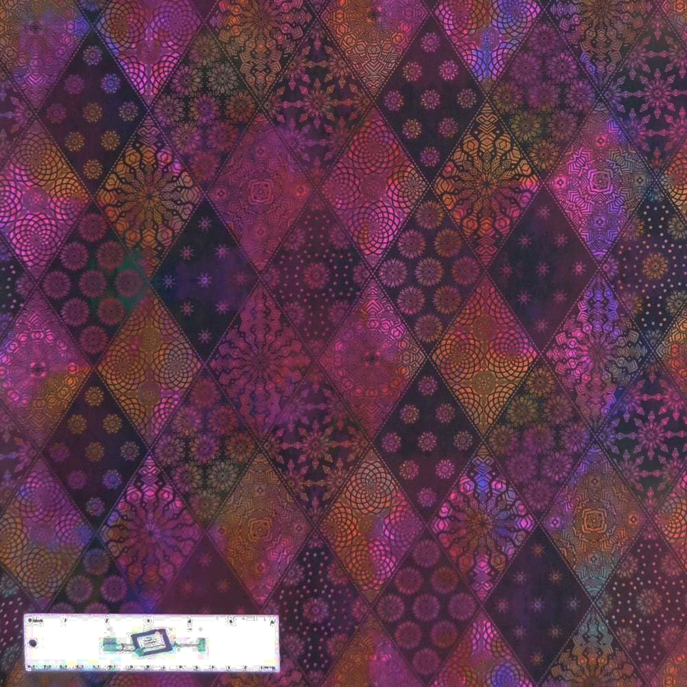 Patchwork Quilting Sewing Fabric PINK PURPLE SHELL METALLIC BATIKS 50x55cm FQ...