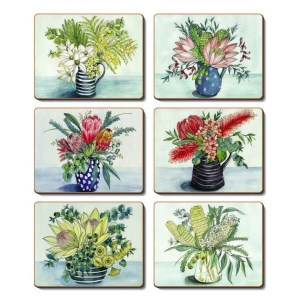 Country Kitchen NATIVE VASE Cinnamon Cork Backed Coasters Set 6 New