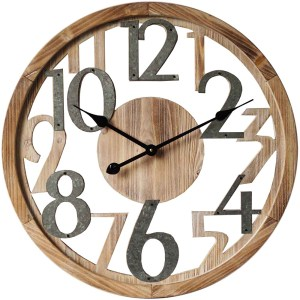 Clocks French Country Wall Hanging 60cm WOODEN CUTOUT and METAL Large