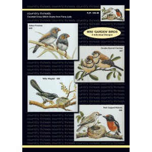 Country Threads Cross X Stitch Pattern Graph MINI GARDEN BIRDS FJP-105-08 (CT)