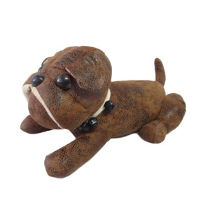 French Country Vintage Weighted LEATHER LOOK LYING DOG Door Stopper