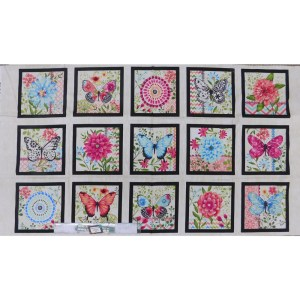 Patchwork Quilting Sewing Fabric BUTTERFLY DREAMS BLOCKS 62x110cm New