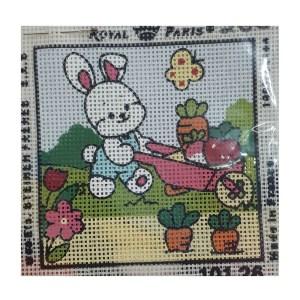 Handmade Tapestry Kit Beginner GARDENING BUNNY 11.5x11.5cm