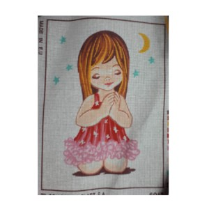 Collection D'Art Printed Tapestry Needlepoint GIRL PRAYING 22x30cm
