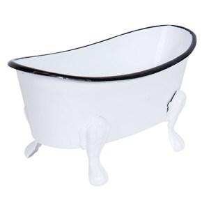 French Country Vintage Decorative Enamel Bathtub Soap Holder