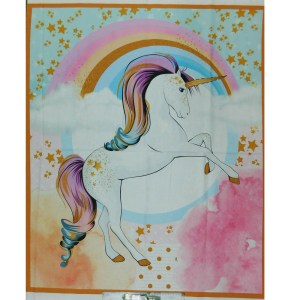 Patchwork Quilting Sewing Fabric RAINBOW UNICORNS Panel 90x110cm New