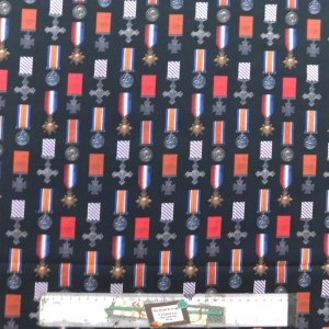 Quilting Patchwork Fabric ANZAC WAR MEDALS 50x55cm FQ New Material