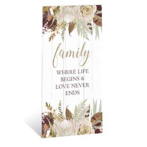 French Country Wooden Sign Natives FAMILY LIFE BEGINS Plaque