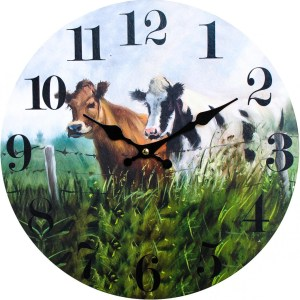 Clock Country Vintage Inspired Wall COWS IN THE MEADOW 34cm