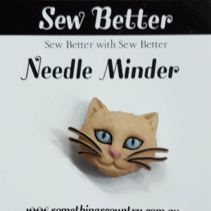 Sew Better Cross Stitch Needle Minder Keeper CAT HEAD 1