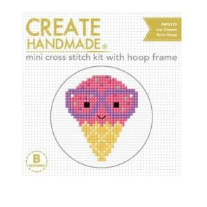 Create Handmade Cross Stitch Kit With Hoop ICE CREAM 8cm