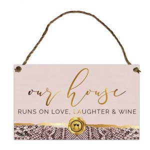 Country Metal Tin Sign Wall Art Vogue OUR HOUSE LOVE WINE Plaque