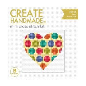 Create Handmade Cross Stitch Kit Beginner SPOTTED HEART 6x6cm