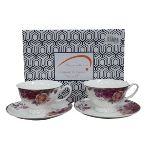 Fine English China Kitchen Tea Cups and Saucers SUNSET ROSE Set of 2