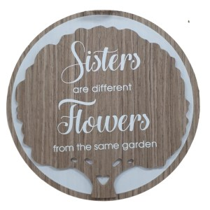 French Country Wooden Round Sign SISTERS FLOWERS Plaque Hang or Stand