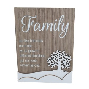 French Country Wooden Sign FAMILY BRANCHES ON TREE Plaque Hang or Stand